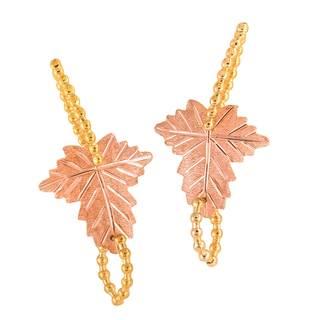 Vinya 12k Two-color Gold over Silver Leaf Earrings