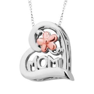 Vinya 12k Gold over Silver 'MOM' Heart Pendant