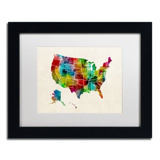 Michael Tompsett 'United States Watercolor Map 2' White Matte, Black Framed Canvas Wall Art