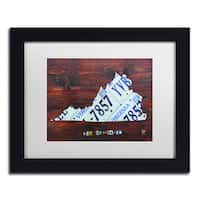 Design Turnpike 'Virginia License Plate Map II' White Matte, Black Framed Canvas Wall Art