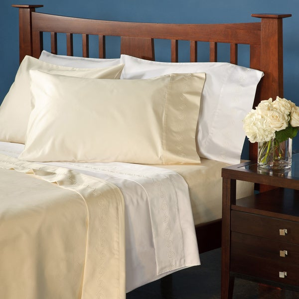 Grand Luxe Egyptian Cotton Sateen 1200 Thread Count Swirl Pillowcases (Set of 2)