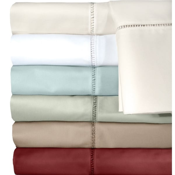 Grand Luxe Linford Embroidered 500 Thread Count Egyptian Cotton Sateen Pillowcases (Set of 2)