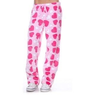 Stanzino Women's Sleepwear Pink Heart Lounge Soft Plush Pants