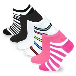 TeeHee Solid & Stripe 6 Pair Pack No show socks