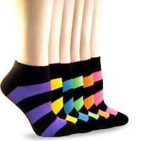 Teehee Socks Women's Neon - Striped Low Cut 6-pair Pack Socks
