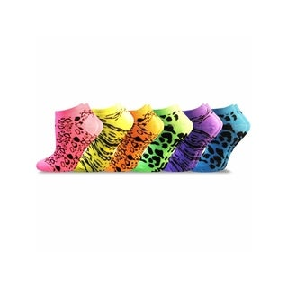 Soxnet Women's Neon Socks - Animal Print Low Cut 6-pair Pack,Size 9-11