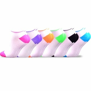 Soxnet Women's Neon Socks - Bright Neon Tipped with Mesh Top Low Cut 6-pair Pack