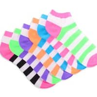 Soxnet Women's Neon Socks - Rugby Striped Low Cut 6-pair Pack Bright Tone