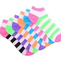 Teehee Socks Women's Neon Socks - Rugby Striped Low Cut 6-pair Pack Bright Tone