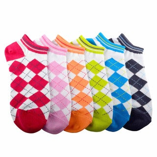Soxnet Womens Argyle Cotton No Show 6-pair Pack