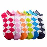 Soxnet Womens Argyle Cotton No Show 6-pair Pack