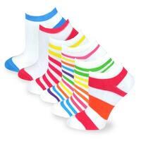 TeeHee Women Fashion No Show Socks 6-Pack, Stripes Plain Fun Socks (AHB-3109)