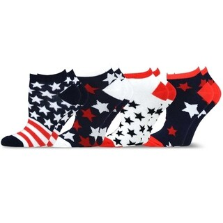 TeeHee American Flag Women's No Show Socks - Stars Stripes & Dots 4-Pack