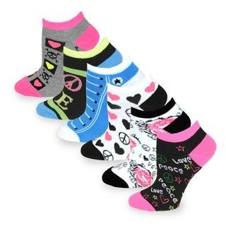 TeeHee Women Fashion No Show Socks 6-Pack, Love Peace Lips Sneaker Fun Socks (AHB-3100)