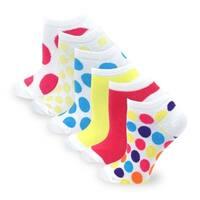 TeeHee Women Fashion No Show Socks 6-Pack, Dots and Plain Fun Socks (AHB-3105)