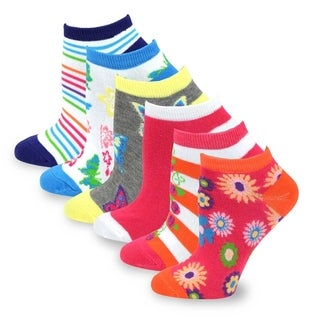 TeeHee Women Fashion No Show Socks 6-Pack, Butterfly Flower Stripe Flower Fun Socks (AHB-3106)