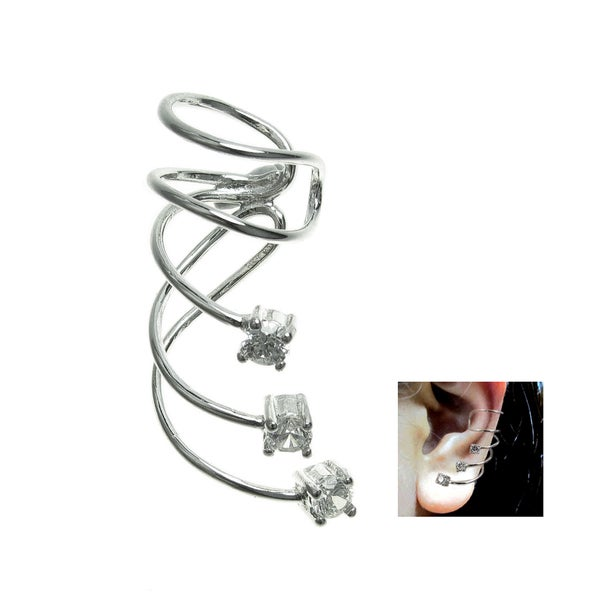 Queenberry Sterling Silver Round Double Ring Earring Cuff Wrap Qgg3nLbl