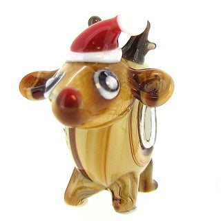 Queenberry Sterling Silver Christmas Rudolph Red Nose Reindeer Glass European Bead Charm