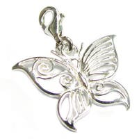 Queenberry Sterling Silver Filigree Butterfly Dangle European Bead Charm