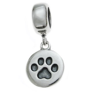 Queenberry Sterling Silver Round Dog Paw Puppy Dangle European Bead Charm