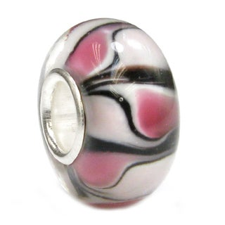 Queenberry Sterling Silver Round Wheel Murano Pink Glass European Bead Charm