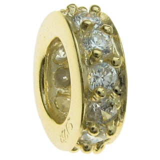 Queenberry Gold .925 Sterling Silver Round Ring Bead Cubic Zirconia European Bead Charm