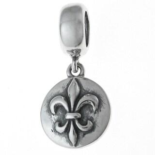Queenberry Sterling Silver Fleur-de-lis Flower Scout Badge Cross Dangle European Bead Charm