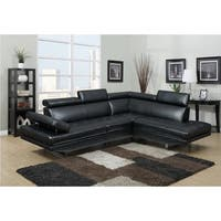 LYKE Home Matt Black Bonded/PU Sectional
