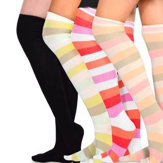 Teehee Womens Cotton Fashion Wide Stripe Over the Knee 4 Pair (10274 1P-10774 3P)