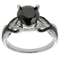 10k White Gold 2 5/8ct TDW Black and White Diamond Ring