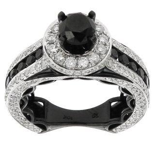 10k White Gold 4 3/4ct TDW Black and White Diamond Ring