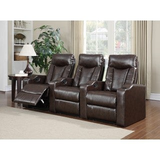 LYKE Home Cabernet Brown Bonded Theater Set  sc 1 st  Overstock.com & Theater Seating Living Room Furniture - Shop The Best Deals for ... islam-shia.org