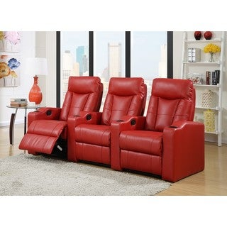 LYKE Home Cabernet Red Bonded Theater Set