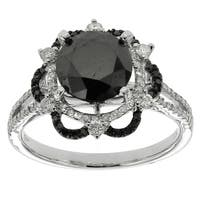 10k White Gold 3 1/5ct TDW Black and White Diamond Ring