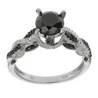 10k White Gold 2 1/6ct TDW Black and White Diamond Ring