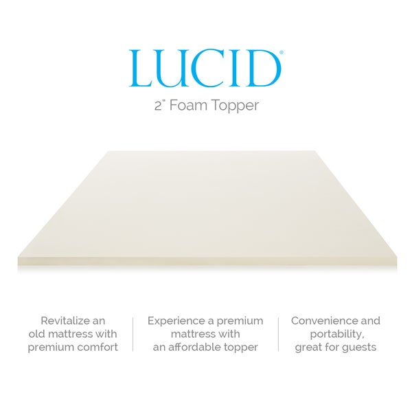 lucid 2inch solid foam mattress topper free shipping today