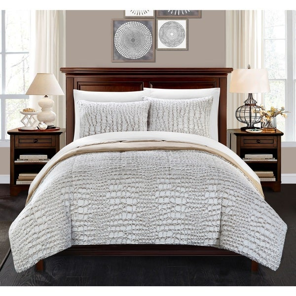 Chic Home Caimani Beige Faux Fur Queen 7-piece Comforter Set