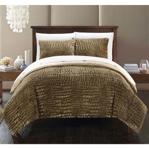 Chic Home Caimani Gold Faux Fur Queen 7-piece Comforter Set