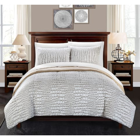 Chic Home Caimani Beige Faux Fur Queen 3-piece Comforter Set