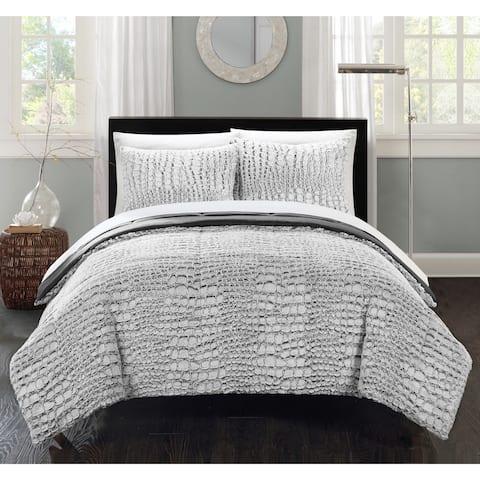 Silver Orchid Monroe Grey Faux Fur Queen 3-piece Comforter Set
