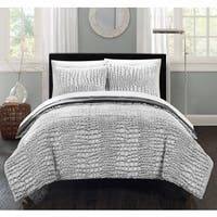 Silver Orchid Monroe Grey Faux Fur Queen 3-piece Comforter Set