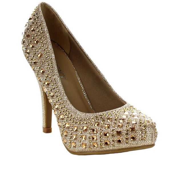 Beston GA23 Women's Chic Basic Glitter Studs Deco Slip-on Dress Heels