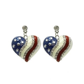 Patriotic American Flag Red White and Blue Dangle Earrings with Crystal Details