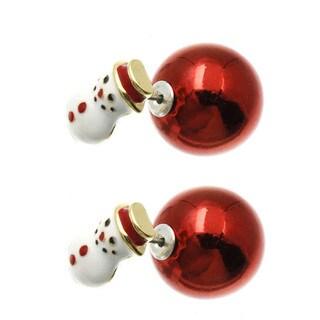 Christmas Earrings Reversible Snowman Snowflake Stocking Earrings