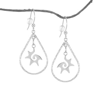 Jewelry by Dawn Textured Teardrop Starburst Sterling Silver Earrings