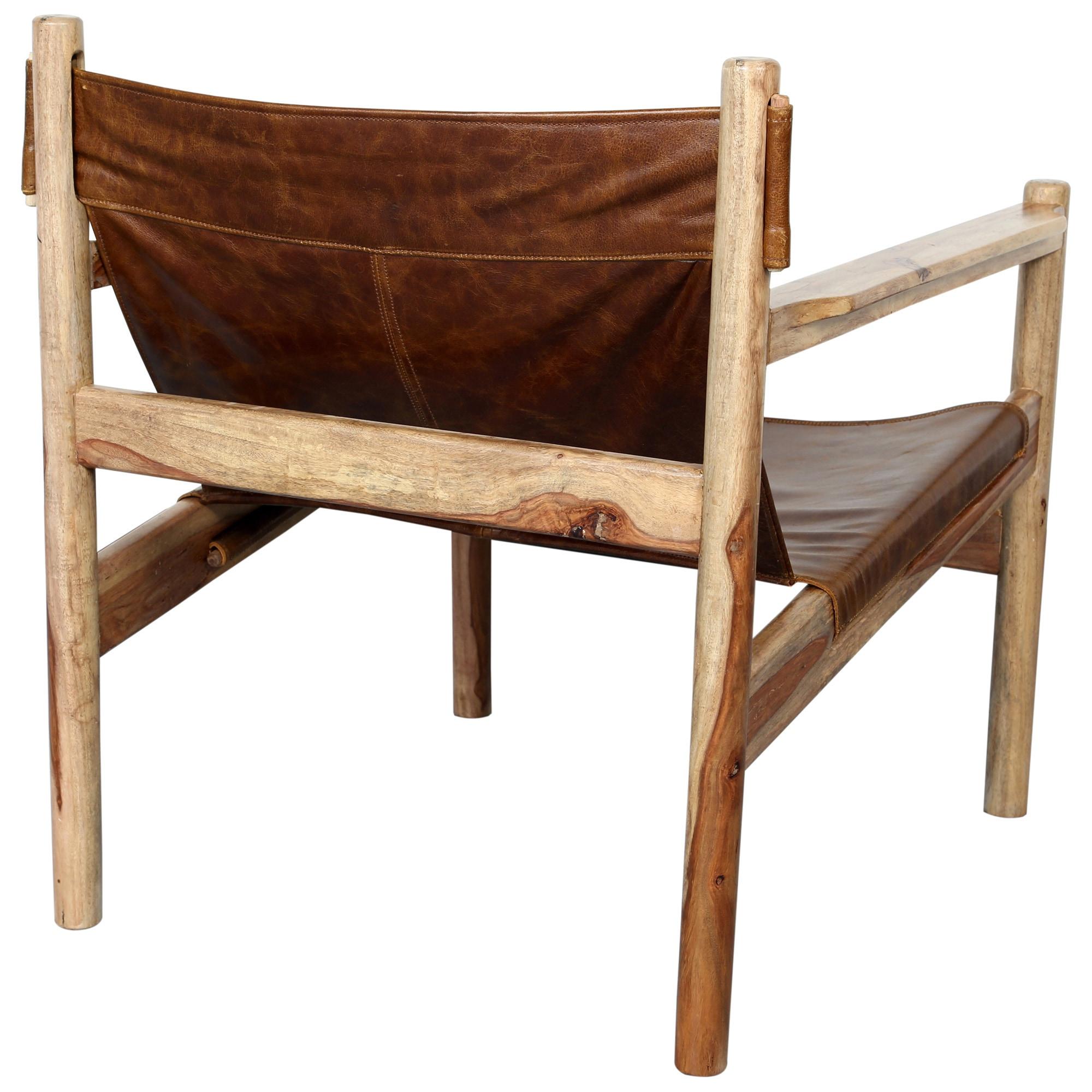 Enjoyable Handmade Genoa Sheesham And Leather Sling Chair 30 X 26 X 27 India Uwap Interior Chair Design Uwaporg