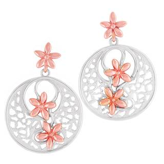 Vinya 12k Two-tone Gold over Silver Circle Earrings