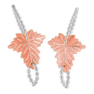 Vinya 12k Two-tone Gold over Silver Leaf Earrings|https://ak1.ostkcdn.com/images/products/10885296/P17920842.jpg?impolicy=medium