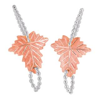 Vinya 12k Two-tone Gold over Silver Leaf Earrings