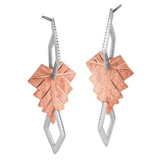 Vinya 12k Two-tone Gold over Silver Leaf Earrings|https://ak1.ostkcdn.com/images/products/10885297/P17920843.jpg?impolicy=medium